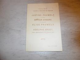 Document ( 400 ) Chanson Zang Lied Huwelijkslied Mariage Huwelijk Pauwels - D' Hoore  Pauwels - Braet  Blankenberge 1897 - Musica & Strumenti