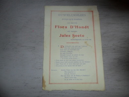 Document ( 401 ) Chanson Zang Lied Huwelijkslied Mariage Huwelijk D' Hondt - Soete Blankenberge 1909 - Musica & Strumenti