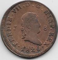 Espagne - 8 Maradevis - 1820 - Cuivre - [ 1] …-1931 : Royaume