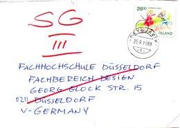 ISLANDE. N°655 De 1989 Sur Enveloppe Ayant Circulé. Cerceau Et Cheval-bâton. - 1989