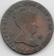Espagne - 8 Maradevis - 1844 - Cuivre - [ 1] …-1931 : Royaume