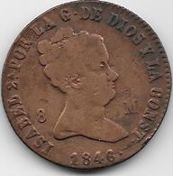 Espagne - 8 Maradevis - 1848 J - Cuivre - [ 1] …-1931 : Royaume