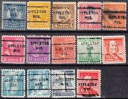 USA Precancel Vorausentwertung Preo, Locals Wisconsin, Appleton 712, 14 Diff. Perf. 11x10 1/2 - Vorausentwertungen