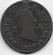 Espagne - 8 Maradevis - 1817 - Cuivre - [ 1] …-1931 : Royaume