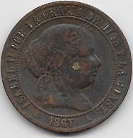 Espagne - 2 1/2 Centimos - 1867 - Cuivre - [ 1] …-1931 : Royaume