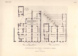 Bijlage Tijdschrift Vers L'Art 1909 - Ensemble Situé Rue Géneral Capiaumont Anvers Antwerpen - Plans - Vieux Papiers