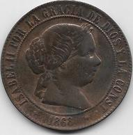 Espagne - 5 Centimos - 1868 - Cuivre - [ 1] …-1931 : Royaume