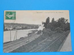 """77 ) Thomery - La Ligne Du P.L.M. Et Effondré """" Train """" -  Année  - EDIT - N.D - France"""