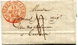 HAUTE GARONNE De BAGNERES DE LUCHON LAC Du 11/09/1832 Avec Dateur T 13 Rouge Et Taxe De 4 Pour TOULOUSE - 1801-1848: Precursors XIX