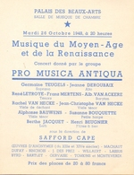 Annonce Affichette Concert Pro Musica Antiqua - Palais Beaux Arts Bruxelles 1948 - Announcements
