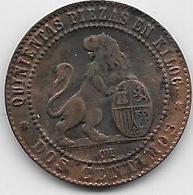 Espagne - 2 Centimos - 1870 OM - Cuivre - [ 1] …-1931 : Royaume
