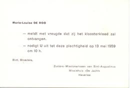 Aankondiging Intrede Klooster Van Marie Louise De Roo - Heverlee 1959 - Announcements