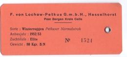 Etiket Etiquette - Winterroggen - F. Von Lochow - Petkus - Hasselhorst 1952 - 1953 - Labels