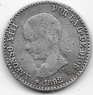 Espagne - 50 Centimos - 1892 - Argent - Ondulation - [ 1] …-1931 : Royaume