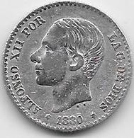 Espagne - 50 Centimos - 1880 - Argent - [ 1] …-1931 : Royaume