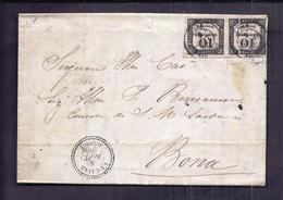 PLI DIPLOMATIQUE ALGERIE 8 Sept 1860 Consulat De Sardaigne à La Calle Vers Bone Taxe 10c X2 Perlé - Marcophilie (Lettres)