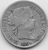 Espagne - 40 Centimos - 1864 - Argent - [ 1] …-1931 : Royaume