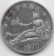 Espagne - 2 Pesetas - 1870 - Argent - [ 1] …-1931 : Royaume