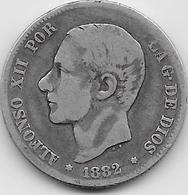 Espagne - 2 Pesetas - 1882 - Argent - [ 1] …-1931 : Royaume