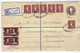 Großbritannien, Ab 1952, Reko-Kuvert Mit Aufgedr. 2/- Sowie Zusatzfrankatur 6xMiNr.260 Und 2xMiNr.197 (9504W) - 1952-.... (Elizabeth II)