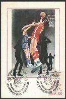 ZN32   BASKETBALL, MEN EUROPEAN CHAMPIONSHIP, MAXICARD, CARTES MAXIMUM, OBLIT FDC, 1979, ITALY - Basket-ball