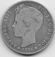 Espagne - 1 Peseta - 1896 - Argent - [ 1] …-1931 : Royaume