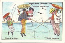CHROMO ANCIENNE - ROYAL MOKA - BALLON DIRIGEABLE - PECHE A LA LIGNE - TBE - Chromos