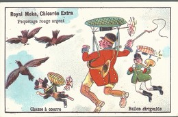 CHROMO ANCIENNE - ROYAL MOKA - BALLON DIRIGEABLE - CHASSE A COURRE - TBE - Chromos