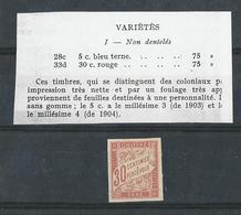 Variété : Taxe 30 Cts Rouge (n°33d) Provenant De Feuille Destinée à Une Personnalité - Signé - Taxes