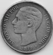 Espagne - 5 Pesetas - Alfonso XII - 1879 - Argent - [ 1] …-1931 : Royaume