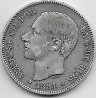 Espagne - 5 Pesetas - Alfonso XII - 1884 - Argent - [ 1] …-1931 : Royaume