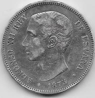 Espagne - 5 Pesetas - Alfonso XII - 1875 - Argent - [ 1] …-1931 : Royaume
