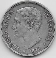 Espagne - 5 Pesetas - Alfonso XII - 1876 - Argent - [ 1] …-1931 : Royaume