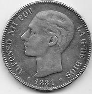 Espagne - 5 Pesetas - Alfonso XII - 1881 - Argent - [ 1] …-1931 : Royaume