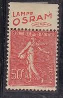 PUBLICITE SEMEUSE LIGNEE 50C ROUGE LAMPE OSRAMunis Fr HAUT ACCP 396* - Advertising