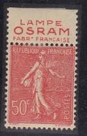 PUBLICITE SEMEUSE LIGNEE 50C ROUGE LAMPE OSRAM Fabrication Française HAUT ACCP 400* - Advertising