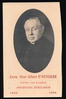 GULDEN JUBELFEEST H.PRIESTERWIJDING PASTOOR AALBEKE - EERW.HEER ALBERT D'HEYGERE - 1884 - 1934  - 2 AFBEELDINGEN - Faire-part