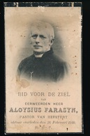 PASTOOR HEESTERT - EERW.H. ALOYSIUS FARASYN - LICHTERVELDE 1840 - HEESTERT 1910 - 2 AFBEELDINGEN - Faire-part