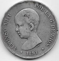 Espagne - 5 Pesetas - Alfonso XIII - 1891 - Argent - [ 1] …-1931 : Royaume