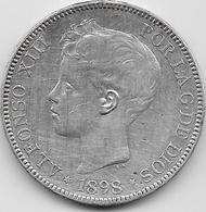 Espagne - 5 Pesetas - Alfonso XIII - 1898 - Argent - [ 1] …-1931 : Royaume