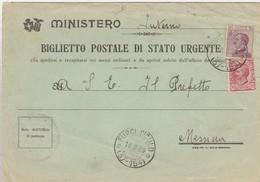 Furci Siculo. 1929. Annullo Frazionario (37 - 154) Su BIGLIETTO POSTALE DI STATO URGENTE - Marcophilie