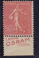 PUBLICITE SEMEUSE LIGNEE 50C ROUGE LAMPE OSRAM Unis Fr BAS ACCP 397* - Advertising