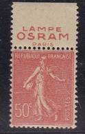 PUBLICITE SEMEUSE LIGNEE 50C ROUGE LAMPE OSRAM Paris HAUT ACCP 398** - Advertising