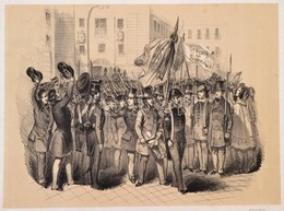 1848 Március 13. A Bécsi Forradalom Kitörése. F. Kollarz Lithográfiája. / 1848 The Revolution In Vienna. Lithography. 39 - Engravings