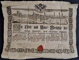 1850 Az Eszéki Kalapgyártó Céh Mesterlevele A Város Rézmetszetű Képével. Szép állapotban.  / Guild Warrant Of The Essek  - Engravings
