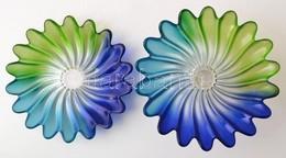 Cca 1930 Walther Glass Liebenstern Art Deco Kék-zöld Talpas Kínáló és Tál (2db), Jelzés Nélkül, Formába Préselt, Anyagáb - Glass & Crystal