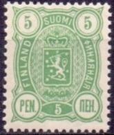 FINLAND 1889-1900 5 Pen Groen Wapentype Drie Cijfers Tanding 14x12 PF-MNH - 1856-1917 Russische Verwaltung