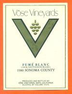 étiquette Vin De Californie Fumé Blanc Sauvignon Blanc 1980 Vose Vineyards à Napa California - - Etiquettes
