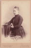 ANTIQUE CABINET PHOTOGRAPH. LADY WITH PLAITED HAIR STYLE. BAYSWATER STUDIO - Photographs