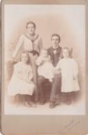 ANTIQUE CABINET PHOTO.  PARENTS WITH 3  CHILDREN.  HEADINGLEY STUDIOS - Photographs